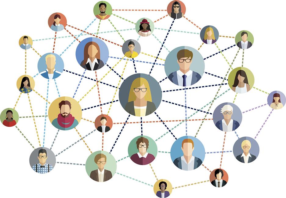 Social network - multicolored vector illustration